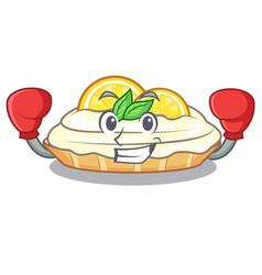 Boxing cartoon lemon cake with sugar powder vector