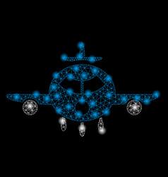 Bright mesh 2d cargo aircraft with light spots vector