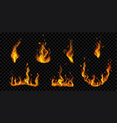burning campfires and fire flames vector image