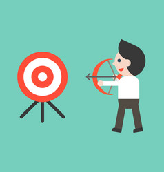 business man aiming target with bow business vector image