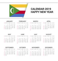 Calendar 2019 comoros flag background english vector