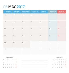 Calendar planner for may 2017 vector