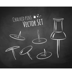 Chalkboard drawing of push pin vector
