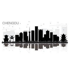 Chengdu china city skyline black and white vector