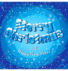 Christmas card poster banner with ice letters and vector image