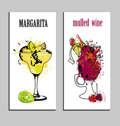 Cocktails menu drawing tequila vector
