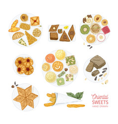 collection of drawings of oriental sweets isolated vector image