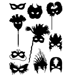 Collection of silhouettes of carnival masks vector image