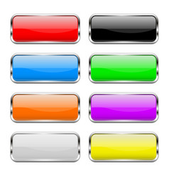 Colored buttons set shiny 3d glass rectangle vector