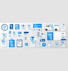 Corporate identity template with classic blue vector