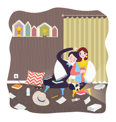 couple at home room hugging and love male female vector image