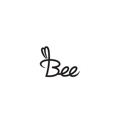 Creative bee letter typography logo symbol sign vector