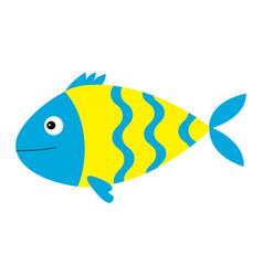 Cute cartoon fish icon set isolated baby kids vector