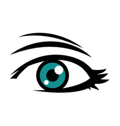 Cute female blue eye look vision design vector