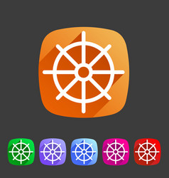 Dharma wheel dharmachakra buddhism icon flat web vector