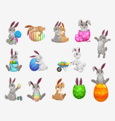 easter holiday bunny or rabbit with egg icons set vector image