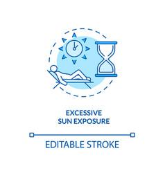 Excessive sun exposure concept icon vector