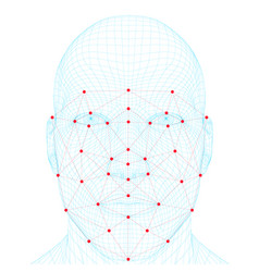 Face recognition men the polygonal wireframe of vector