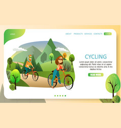 Family cycling landing page website vector
