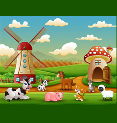 farm landscape with animals outside the cage vector image