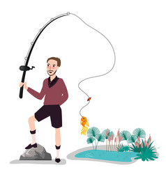 flat fisherman with fish holding fishing rod vector image