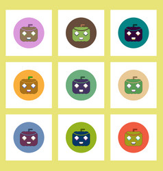 flat icons halloween set of pumpkin concept on vector image