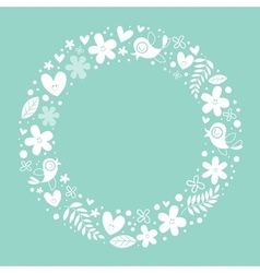 flowers hearts birds love nature circle frame vector image