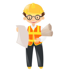 Foreman holding lots of files vector