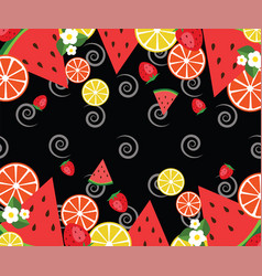frame template withwatermelons oranges vector image