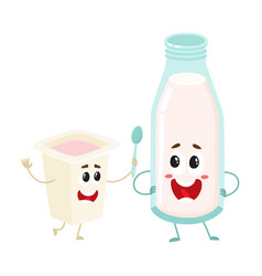 funny milk bottle yogurt cup characters with vector image