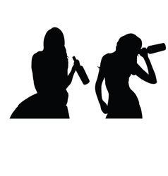 girl drink silhouette vector image
