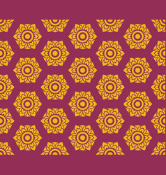 Golden thai floral pattern seamless on red vector