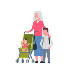 grandmother with baby grandchildren in stroller vector image