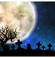 Halloween with full moon and cemetery on the night vector