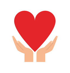 hands and cartoon heart icon image vector image