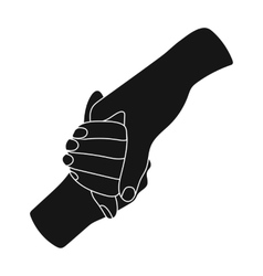 Hands holding icon in black style isolated on vector image