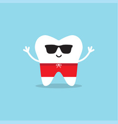 happy healthy tooth in sunglasses and swimming vector image