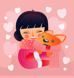 happy valentines day with hug girl and dog vector image