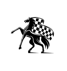 Horse with waving checkered flag Racing emblem vector