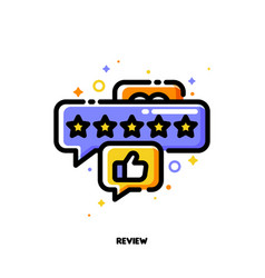 icon bubbles with five stars and hand thumb up vector image