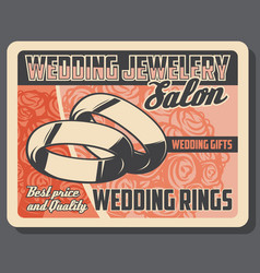 jewelry salon wedding rings marriage gifts vector image