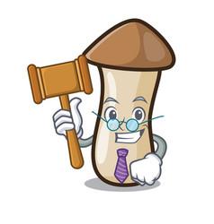 Judge pleurotus erynggi mushroom mascot cartoon vector