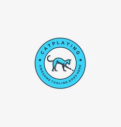 Logo cat plying vintage badge vector