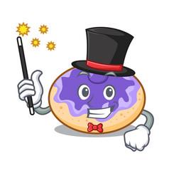 Magician donut blueberry mascot cartoon vector