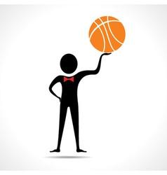 Man holding a basketball vector image