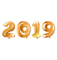 Metallic gold balloons 2019 happy new year vector