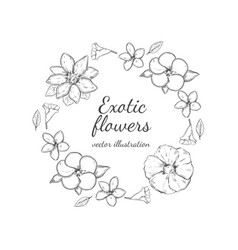 monochrome floral decorative round wreath concept vector image
