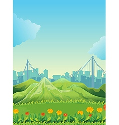 Mountains across the tall buildings vector