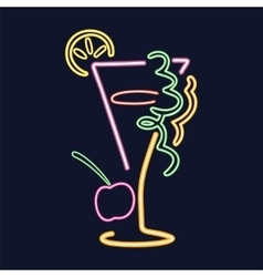 Neon cocktail sign vector