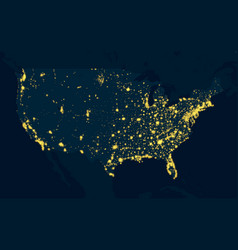 Night map united states of america vector